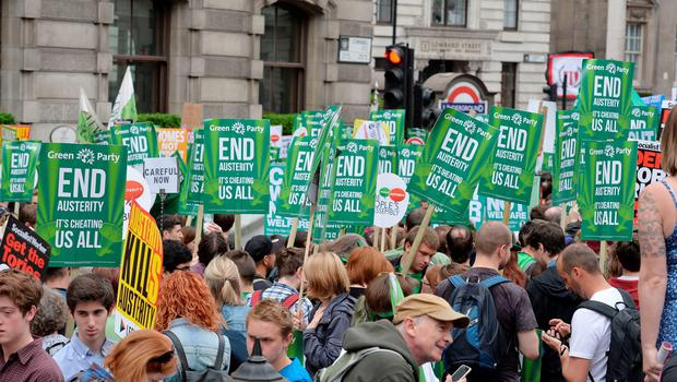 Protesters attend the End Austerity Now rally outside the Bank of England, London. PRESS ASSOCIATION Photo. Picture date: Saturday June 20, 2015. See PA story INDUSTRY Protest. Photo credit should read: John Stillwell/PA Wire