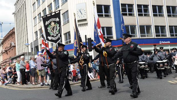 Pacemaker Press 12/7/2017 The 12th of July Parade takes place from from Clifton Street threw the streets of Belfast on Wednesday, As thousands of people line the streets across Northern Ireland the 12th of July celebrations. Pic Colm Lenaghan/Pacemaker