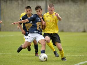 31st July 2019  Statsports Supercup NI 2019 Co Antrim against Pumas Unam at Anderson park Coleraine. Co Antrims Jamie McDonnell in action with Pumas Carranza Kleber  Mandatory Credit : Stephen Hamilton/Presseye