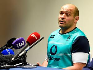 Ireland's Rory Best and Greg Feek during the captain's run at Murrayfield Stadium, Edinburgh. PRESS ASSOCIATION Photo. Picture date Thursday February 3, 2017. See PA story RUGBYU Ireland. Photo credit should read: Ian Rutherford/PA Wire. RESTRICTIONS: Editorial use only, No commercial use without prior permission.
