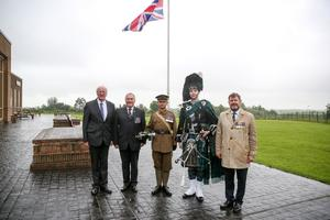 An overnight vigil at the Somme Museum outside Newtownards. Pictured at the vigil is, Jim Shannon MP, John Morrison of the Royal British Legion, military bugler, Grahame Harris of Harris Piping, and Kingsley Donaldson, secretary of the Northern Ireland 1st World War centenary committee. Picture: Philip Magowan / PressEye