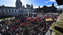 Public Sector mass rally at Belfast City Hall to protest against spending cuts. Presseye