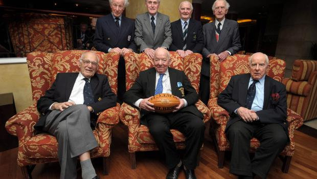 Pacemaker Press International Belfast 13/8/2008. The surviving members of the 1948 grand slam winning Ireland side after a question and answer session at the Europa hotel this afternoon. Included are, Jim McCarthy, Jack Kyle, Jimmy Nelson, Karl Mullen, Paddy Reid, Bertie OHanlon and Michael OFlanagan . Picture Charles McQuillan/Pacemaker.