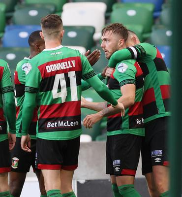 Goalscorer Robbie McDaid helped Glentoran reach the final at Cliftonville's expense last night at Windsor Park
