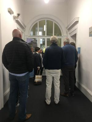 Visitors explore the history of the Old Museum Building at College Square North in Belfast