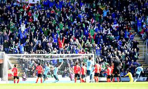 PACEMAKER BELFAST  24/03/2018 Northern Ireland v South Korea Friendly International. Northern Ireland score during todays game at the National Stadium Windsor Park in Belfast. Picture By: Arthur Allison/Pacemaker Press