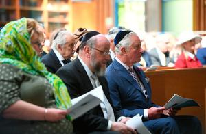 The Prince of Wales with Chief Rabbi Ephraim Mirvis during a visit to Belfast Synagogue on the second day of the Royal couple's visit to Northern Ireland. Joe Giddens/PA Wire