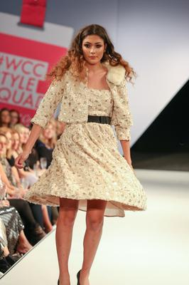 "West Coast Cooler Fashion Week. Pictured: Stefania in a Gold/Cream Roses Swin Bustier Dress, Bomber Skirt Pink Multi Tweed with ""Perfect"" Applique To Back Panel and Plum Faux Fur from Diamond Dolls. Picture: Philip Magowan / PressEye (21st October 2016)"