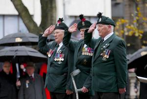 Veterans during Remembrance Sunday wreath laying at the Cenotaph in the grounds of Belfast City Hall. (Photo by Kevin Scott / Presseye)