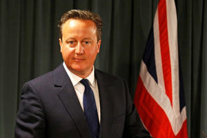British Prime Minister counterpart David Cameron arrives to a joint press statement with his Portuguese counterpart at St. Bento Palace in Lisbon on September 4, 2015.