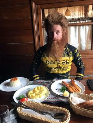A pit stop for Conway, who has completed a 3,980-mile trip across Europe on a bicycle (Yellow Jersey/PA)