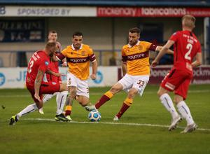 Pacemaker - Belfast -  -17/09/2020.         Coleraine v Motherwell Europa League Second Qualifying round At Ballycastle Road    Motherwell's Tony Watt and Coleriane Gareth McConaghie In tonight's  game      Photo Desmond Loughery/Pacemaker Press