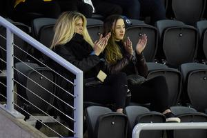 Rachel Hunter watches son Liam Stewart as he plays for the Great Britain ice hockey team at the SSE Arena in Belfast last night. Liam's girlfriend Nicole Artukovich accompanied her