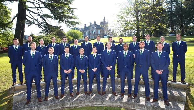 Members of the Northern Ireland football squad join Manager Michael O'Neill as they leave the Culloden Hotel to take part in a training camp in Austria in advance of the 2016 Euros. Press Eye - Belfast -  Northern Ireland - 30th May 2016 - Photo by William Cherry
