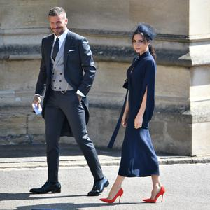 David Beckham and Victoria Beckham at St George's Chapel at Windsor Castle after the wedding of Meghan Markle and Prince Harry on May 19, 2018 in Windsor, England. (Photo by Ben Cawthra - WPA Pool/Getty Images)