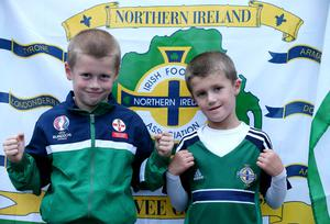 Press Eye - Belfast - Northern Ireland - 8th October 2016 -Picture by Brian Little/PressEye  Northern Ireland fans Joshua (7) and Caleb Crooks (6) from Coagh      attending    The National Football Stadium at Windsor Park Opening Game and Ceremony before Northern Ireland vs San Marino 2018 FIFA World Cup Qualifier Photo by Brian Little/ Press Eye