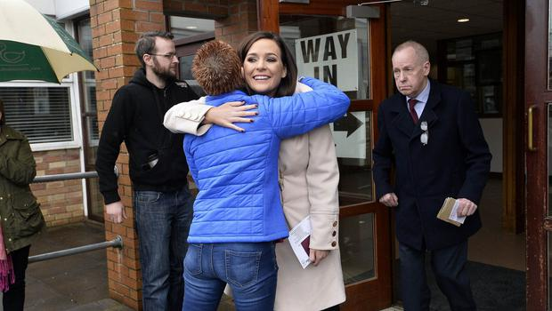 Sinn Fein Candidate Órfhlaith Begley pictured as she arrives to vote at  Dean Maguirc College, Carrickmore. Photo Credit: Stephen Hamilton/Presseye
