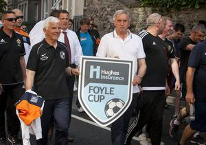 A section of this year's referees pictured during Tuesday's Hughes Insurance Foyle Cup parade in the city.