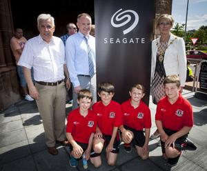 The Mayor of Derry City and Strabane District Council, Alderman HIlary McClintock pictured with Michael Hutton, organiser, Hughes Insurance Foyle Cup and Dr. Brian Burns, Vice President, Seagate (Springtown Operations), one of the sponsors at Tuesday's opening parade in Guildhall Square, Derry.