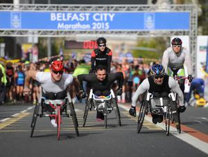 PACEMAKER BELFAST   04/05/2015 Wheel Chair race  during the Belfast Marathon 2015 takes place on Bank Holiday monday. Photo Colm Lenaghan/Pacemaker