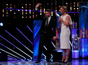 Jonathan Rea is interviewed by Gabby Logan during the BBC Sports Personality of the Year 2017 at the Liverpool Echo Arena.