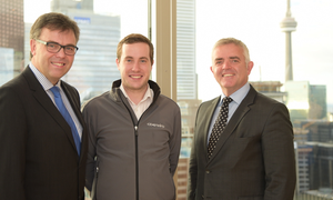 Craig McLeod (centre) of CDEnviro in Toronto with Enterprise Minister Jonathan Bell (right), who is leading a trade mission to Canada this week, and Invest Northern Ireland CEO Alastair Hamilton