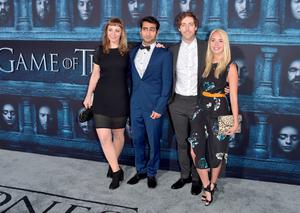 """HOLLYWOOD, CALIFORNIA - APRIL 10:  (L-R) Emily V. Gordon, Kumail Nanjiani, Thomas Middleditch, and Mollie Gates attend the premiere of HBO's """"Game Of Thrones"""" Season 6 at TCL Chinese Theatre on April 10, 2016 in Hollywood, California.  (Photo by Alberto E. Rodriguez/Getty Images)"""