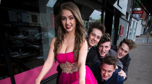 Kirstin Aston is looking forward to a street party as the Giro De Italia rides through Ballyhackamore village at the weekend. Joined by band The Left Backs - Mathew Hedley, Max Lozowsky, Ben Watt Doak and Lucas McPherson. Picture Mark McCormick