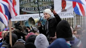 SUNDAY LIFE NEWS - Flag protest Belfast City Hall. Jamie Bryson speaking. Protesters gather at Belfast City Hall before walking back to the Con Club on the Newtownards Road. A heavy police prescence and involvement from community workers meant there was no trouble at the Short Strand interface as seen on previous weeks. Picture Mark McCormick 19/01/13