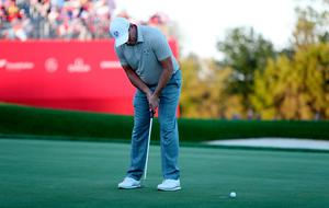 Europe's Lee Westwood misses his putt on the 18th during the Fourballs on day two of the 41st Ryder Cup at Hazeltine National Golf Club in Chaska, Minnesota, USA. David Davies/PA Wire.