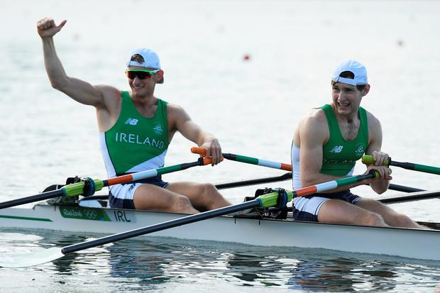 Gary O'Donovan (bow) of Ireland and Paul O'Donovan of Ireland react following their Lightweight Men's Double Sculls Semi Final on Day 6 of the 2016 Rio Olympics at Lagoa Stadium on August 11, 2016 in Rio de Janeiro, Brazil. (Photo by Matthias Hangst/Getty Images)