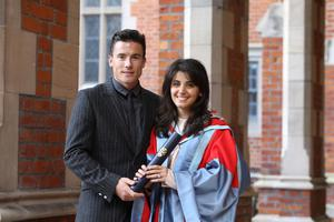 Singer Katie Melua with her husband James Toseland pose for a photograph after Graduation at Queen's University Belfast, Saturday Photo/Paul McErlane