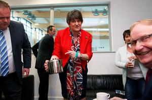 DUP leader Arlene Foster MLA for Fermanagh and South Tyrone makes time for a quick cup of tea as counting continues at the Omagh count centre in the Northern Ireland Assembly Elections.   Brian Lawless/PA Wire