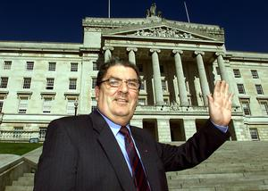 John Hume in front of the Stormont Building (Paul Faith/PA)