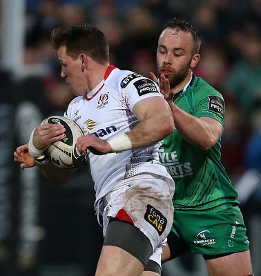 Ulster Craig Gilroy   and Connacht  Shane O'Leary     during Friday night's Guinness PRO 12 match at the Kingspan Stadium, Ravenhill Park. Picture by Brian Little/Presseye