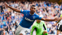Rangers' Alfredo Morelos celebrates after scoring the third goal during against Dunfermline at Ibrox. Photo: Ian Rutherford/PA