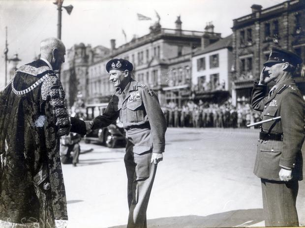 Field Marshal Bernard Montgomery, visit to Northern Ireland 1945. Arriving in Belfast and being greeted at the City Hall by Sir Crawford McCullagh. 14/9/1945.
