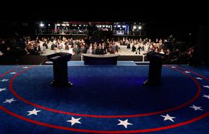 """Members of the public arrive for the final presidential debate at the Thomas & Mack Center on the campus of the University of Las Vegas in Las Vegas, Nevada on October 19, 2016. Democrat Hillary Clinton and rival Donald Trump face off in their last presidential debate on October 19, with the Republican candidate spiraling downward amid allegations of sexual misconduct and wild charges of a """"rigged"""" US election. / AFP PHOTO / POOL / joe raedleJOE RAEDLE/AFP/Getty Images"""