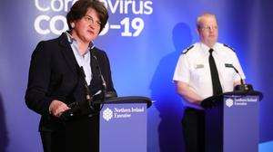 First Minister Arlene Foster and PSNI Chief Constable Simon Byrne during the daily media broadcast in the Long Gallery at Parliament Buildings, Stormont on Friday. Photo by Kelvin Boyes / Press Eye.
