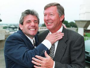 File photo dated 08/06/1996 of Newcastle boss Kevin Keegan (left) gets to grips with Manchester United manager Alex Ferguson as they meet at Wembley for the start of the European Championships. PRESS ASSOCITAION Photo. Issue date: Wednesday May 8, 2013. Sir Alex Ferguson will retire at the end of this season, Manchester United have announced. See PA Story SOCCER Man Utd. Photo credit should read: Adam Butler/PA Wire.