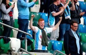 Ballymena United fans react in the stands during the Sadler's Peaky Blinders Irish Cup Final match at Windsor Park, Belfast. PA Photo. Picture date: Friday July 31, 2020. Friday's Irish Cup final between Ballymena United and Glentoran is the first football match in the UK to be played in front of spectators since March. Photo credit should read: Liam McBurney/PA Wire