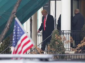 WASHINGTON, DC - JANUARY 20:  President-elect Donald J. Trump departs Blair House to attend a church service at St. John's Episcopal Church on Inauguration Day on January 20, 2017 in Washington, DC. Donald J. Trump will become the 45th president of the United States today.  (Photo by Chris Kleponis - Pool/Getty Images)