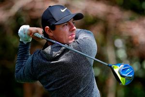 Rory McIlroy of Northern Ireland plays his shot from the second tee during the first round of the 2016 Masters Tournament at Augusta National Golf Club on April 7, 2016 in Augusta, Georgia.  (Photo by Kevin C. Cox/Getty Images)