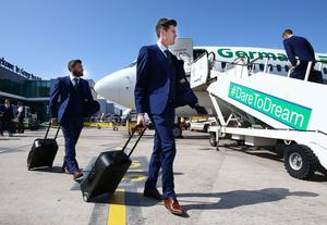 Northern Ireland's Kyle Lafferty pictured as they leave from George Best Belfast City Airport to take part in a training camp in Austria in advance of the 2016 Euros. Press Eye - Belfast -  Northern Ireland - 30th May 2016 - Photo by William Cherry