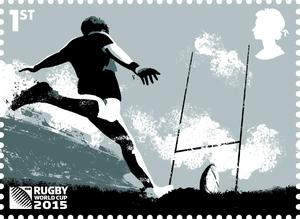 Embargoed to 0001 Friday September 18  Undated handout photo issued by the Royal Mail of one of a selection of eight stamps which have been launched to mark the start of the Rugby World Cup 2015. PRESS ASSOCIATION Photo. Issue date: Friday September 18, 2015. Royal Mail said the eight-stamp set conveys the excitement and skill of the game. See PA story CONSUMER Stamps. Photo credit should read: Royal Mail/PA Wire  NOTE TO EDITORS: This handout photo may only be used in for editorial reporting purposes for the contemporaneous illustration of events, things or the people in the image or facts mentioned in the caption. Reuse of the picture may require further permission from the copyright holder.