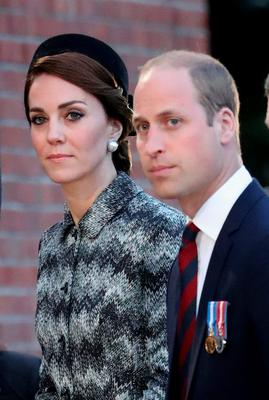 THIEPVAL, FRANCE - JUNE 30:  Prince William, Duke of Cambridge and Catherine, Duchess of Cambridge  take part in a vigil at Thiepval Memorial to the Missing of the Somme during Somme Centenary Commemorations on June 30, 2016 in Thiepval, France.  (Photo by Chris Jackson/Getty Images)