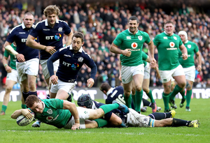 Touch down: Paddy Jackson bags a try but it was a difficult day for the Ulsterman and indeed the entire Ireland team