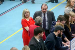 Press Eye - Belfast - Northern Ireland - 3 March 2017 -   NI Assembly Election 2017 Count at Lagan Valley Leisureplex in Lisburn for Lagan Valley and South Down constituencies.  Brenda Hale and Paul Rankin pictured at the count.  Photo by Philip Magowan / Press Eye.