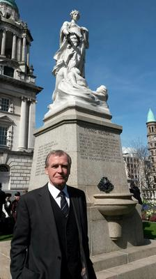 President of Belfast Titanic Society John Martin, whose great uncle John Edward Simpson died in the sinking of the Titanic, joins others on The Titanic Memorial Garden in the grounds of Belfast City Hall, to commemorate the anniversary of the sinking.