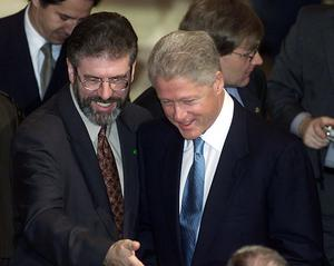 PACEMAKER BELFAST 13/12/2000   US President Bill Clinton is introduect to Sinn Fein MLA members by Sinn Fein president Gerry Adams during his visit to Stormont this morning.